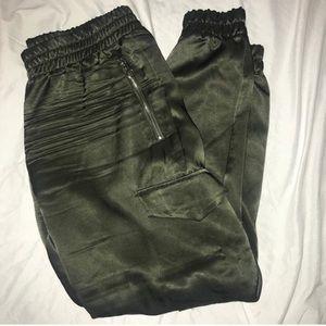 ZARA Olive Green silk satin pants with gold zipper